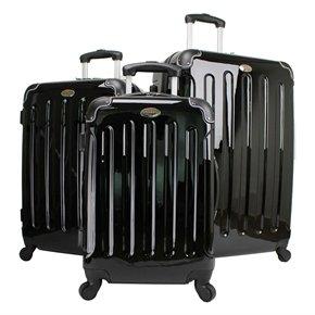 Swiss Case 4 Wheel 3 Pc Hard Suitcase Set Black from Swiss Case