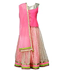 Peaches Girls' Lehenga Choli (L-FPGL_Pink_6-7 Years)