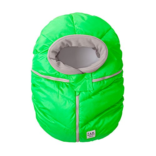 7AM Enfant Car Seat Cocoon: Infant Car Seat Cover Micro-Fleece Lined with an Elasticized Base, Neon Green
