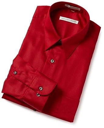Geoffrey Beene Men's Point Collar Full Cut Sateen Woven Shirt,Cranberry,15.5- 32/33