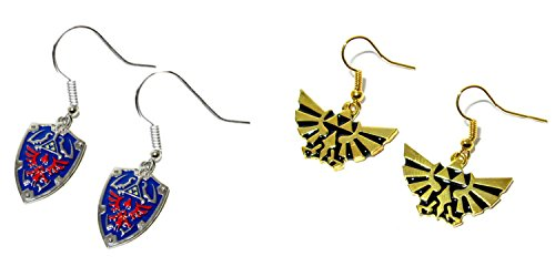(2-Pack) The Legend of Zelda Blue Shield and Gold Triforce Dangle Earrings with Gift Box