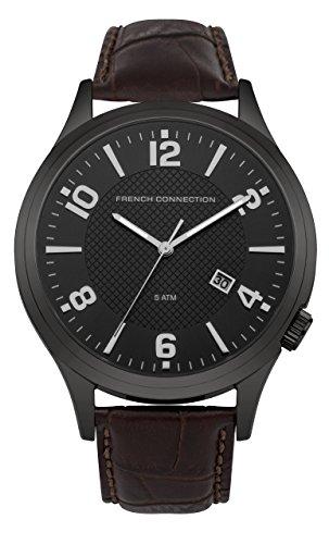 French Connection Hombre Reloj de cuarzo con Negro esfera analógica pantalla y correa de piel color marrón fc1260tba