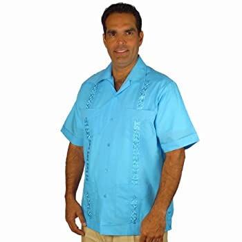 Men's guayabera poly-cotton embroidered cuban style