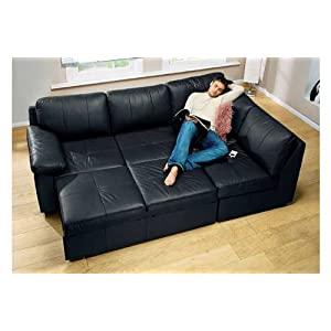 Alonza Black Leather R/H Corner Sofa Bed best deal - sofa beds for sale