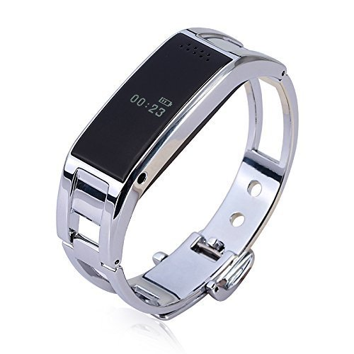 Hideer D8 Bluetooth Smart Watch Smartband Fashion Bracelet with Sync Phone Call / Pedometer/ Anti-lost Smart Wrist Wrap Watch Phone Smart Bracelet Wrist Watch Phone for iOS Android (Silver)