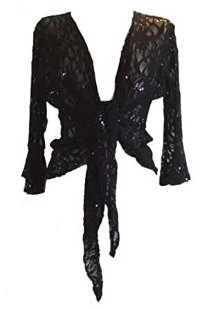 Black Sparkly Sequin Lace Front Tie Evening Bolero Shrug. Size 10/12