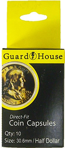 Guardhouse Box of 10 Direct Fit 30.6mm Coin Holders HALF DOLLARS
