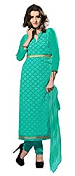 Dress Material Georgette Rama Green Embroidered + Lace Unstitched