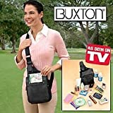Buxton Leather Over the Shoulder Organizer Bag- Black ~ Buxton