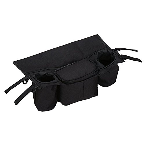 Baby Stroller Organiser Pram Storage Bags Buggy Cup Holder Parent Bag Water Resistant Universal Fit(black)