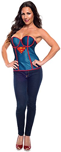 Rubie's Costume Women's DC Comics Supergirl Corset with Fishnet Overlay, Blue/Red, Large (Supergirl 39 Comic 2015 compare prices)