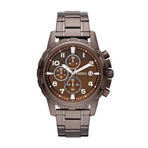 Fossil Men's Dean Chronograph Watch FS4645 With Brown Dial, Case And Bracelet