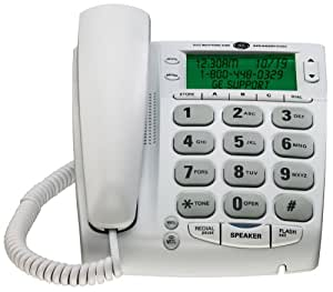 GE 29569GE1 Corded Big Button Speakerphone with Extra Large LCD Display/CID/Call Waiting (White)