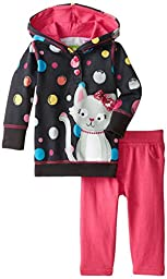 Watch Me Grow! by Sesame Street Baby-Girls Newborn 2 Piece Polka Dotted Hooded Pullover and Pant Set, Black, 6-9 Months