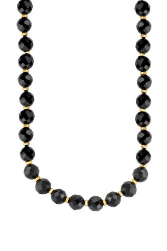 10-10.5mm Faceted Black Agate Necklace with Gold Plated Silver Rondels and Clasp, 18