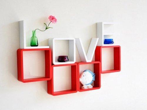 8 er Set Design Wandregal Bücher CD Regal Cube LOVE Liebe rot weiß Dekowürfel NEU online bestellen