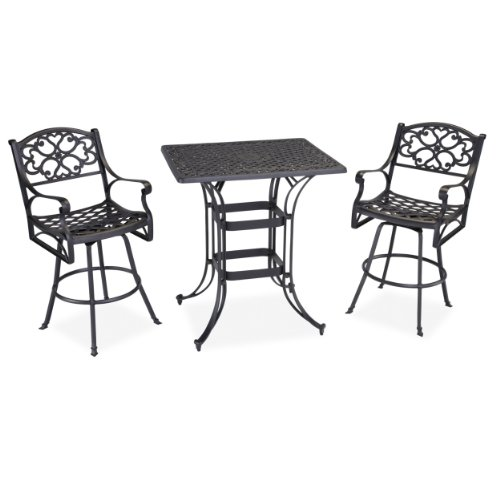 Home Styles 3-Piece Biscayne Space Saving Rectangle Bistro Table, Black front-401623