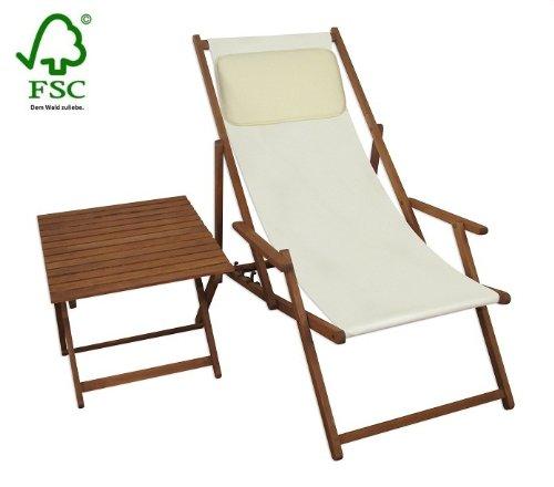 Sonnenliege Gartenliege Deckchair Saunaliege inkl. Kopfstütze + Tisch kaufen