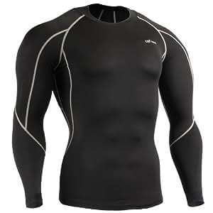 emFraa Homme Femme Sport Compression Black Base layer T-Shirt Longsleeve S