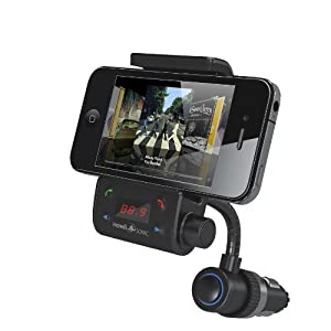 Incredisonic IFM-500 Bluetooth FM Transmitter Car Kit With Goosneck GPS Vehicle Mount Combo, for Iphone 5 4 4S 3GS, Ipod Touch All Versions, Samsung Galaxy Nexus S2, & S3, HTC Sensation EVO Thunderbolt, Motorola Razr & Bionic, & All other Android & Windows PDA phones