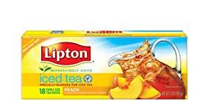 Lipton All Natural Iced Tea, Family Size Tea Bags, Hint of Peach, 18-Count (Pack of 6)