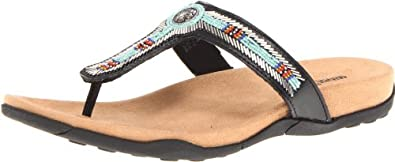 Minnetonka迷你唐卡女士真皮凉拖鞋Women's Ventura Sandal 巧克力色 $17.99
