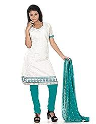 B3Fashion Semi Stitched Off White Cotton Salwar Suit With Full Buta Embroidery Work & Elegant Silverish Gold Zari...