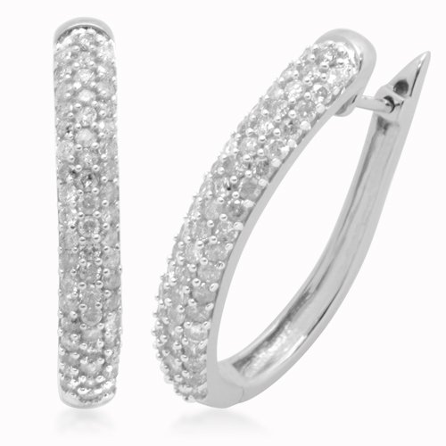 10K White Gold Diamond Hinged Oval Hoop Earrings (1 cttw, I-J Color, I3 Clarity)