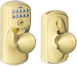 Schlage FE595 PLY 505 PLY Plymouth Keypad Entry with Flex-Lock and Plymouth Style Knobs, Bright Brass