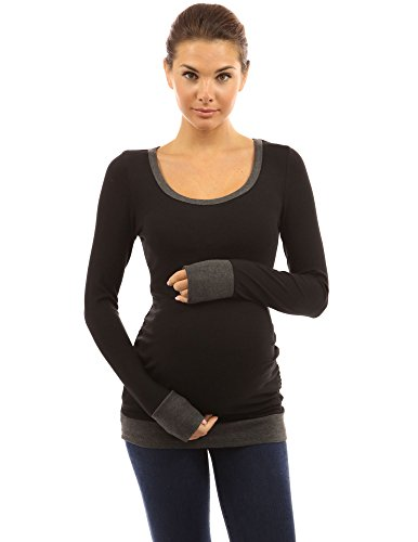 PattyBoutik Mama Trim Scoop Neck Maternity Tunic Top (Black with Gray S)