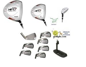 AGXGOLF: Men's Left Hand Tech-Plus Edition Golf Club Set; W/OverSize Graphite Shaft Driver, 3 Wood & Hybrid: Callaway Style Irons Cadet Regular or Tall Length; Free Putter