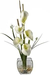 Nearly Natural 1118-CR Calla Lilly Liquid Illusion Silk Flower Arrangement, Cream