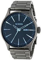 Nixon A3561427 Sentry SS Gunmetal / Blue Crystal Dial Steel Band Men Watch NEW