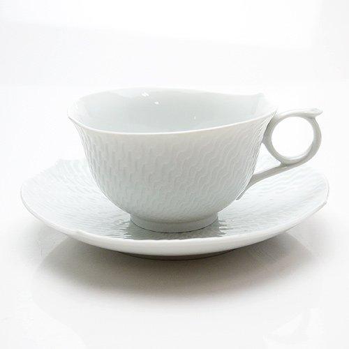 マイセン (Meissen) 波の戯れ ホワイト ティーカップ &ソーサー29633