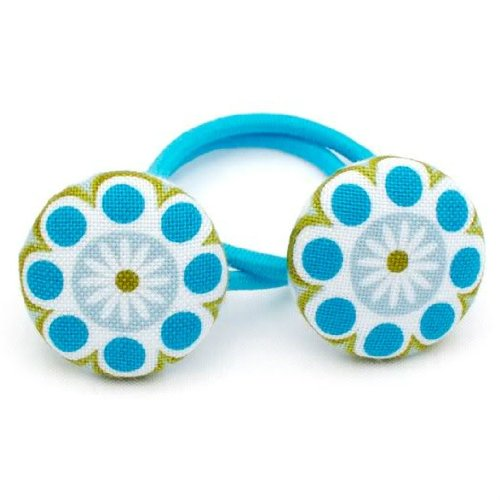 Too Cuties Girls Ponytail Holders. Set of 2 Blue Daisy.