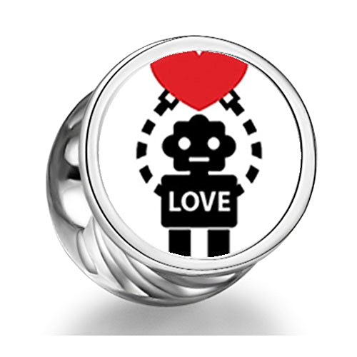 Loyallove Robot Holding Heart Cylindrical Photo Charm Beads
