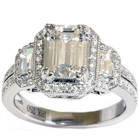 18k White Gold 2.29CT Emerald Diamond Vintage Engagement Ring