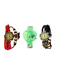 ANALOG KIDS WATCH WITH HELLO KITTY CARTOON PRINTED ON DIAL AND STRAP WITH 2 FREE WOMEN BRACELET WATCH-SET OF 3 - B01BF8JXZ8