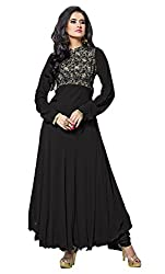 Siya Fashion women's Georgette Party Wear Unstitched Dress Material(si7008_ Black color)