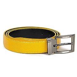 Brand Q Mens Belt Lizard Skin Texture one Yellow