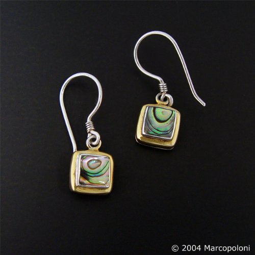 Paua (Abalone) Shell Square Gold-Rim Hook Earrings