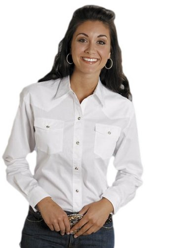 Roper Women's Amarillo Solid Pearl Snap Western Shirt White Large