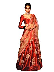Priya Fashion Embroidered Women's Red Satin Silk lehengha Choli and Dupatta Set