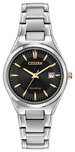 Citizen Watch Silhouette Women's Quartz Watch with White Dial Analogue Display and Two Tone Stainless Steel Gold Plated Bracelet EW1970-55H