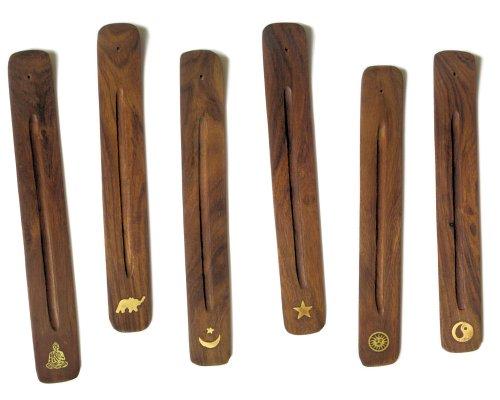 Sabiduría antigua ajustable con incrustaciones de latón madera Sesham Ashcatcher