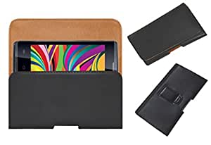 Acm Belt Holster Leather Case For Iball Andi 4 Arc Mobile Cover Holder Clip Magnetic Closure Black