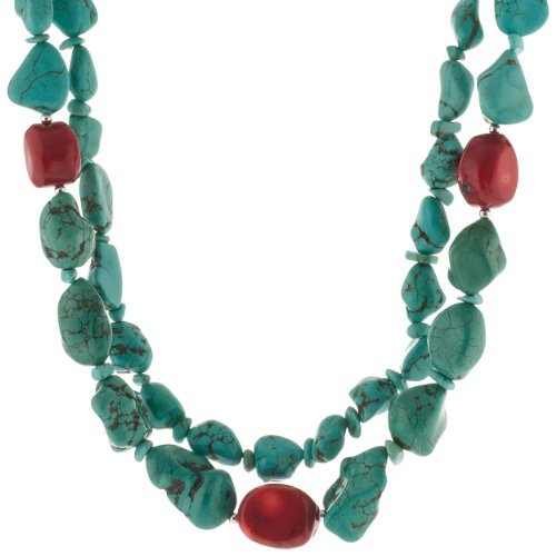 Sterling Silver Turquoise Nugget and Coral Double Strand Necklace, 17