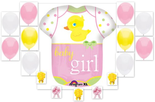 Baby Girl Duckie Onesie Shower Balloon Bouquet 16 Piece Complete Party Kit front-12481