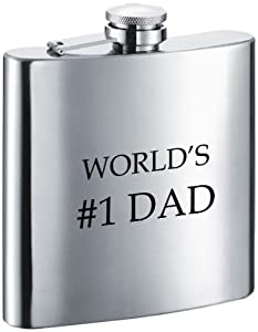 "Visol ""World's #1 Dad"" Stainless Steel Hip Flask, 6-Ounce, Satin Finish, Chrome"
