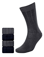 4 Pairs of Autograph Pure Mercerised Cotton Ribbed Socks